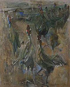 第67回滋賀県美術展覧会(平面の部)佳作「鶏たち」